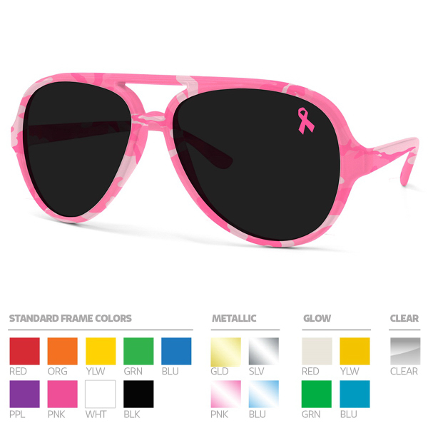 Full-color Frame Wrap Aviators Sunglasses w/ Lens Imprint. N