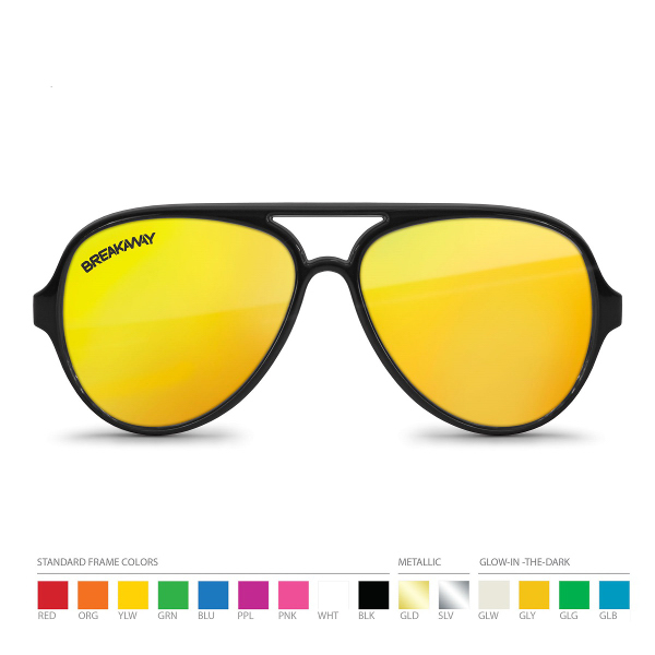 Aviator Mirrored Sunglasses with Corner Lens Imprint
