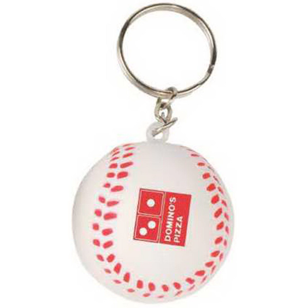Mini Baseball Stress Reliever Key Tag