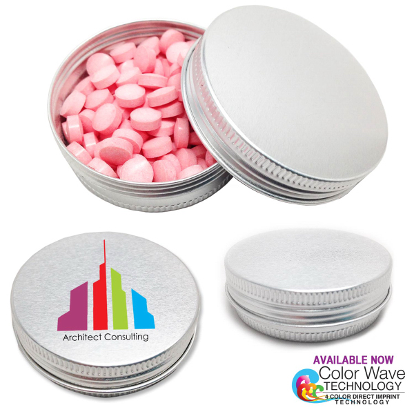 Round Tin Aluminum Screw Top Mint Tin with Mints
