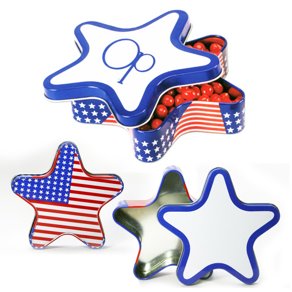 Patriotic Stars Stripes Star Shape Tin Box with Mints