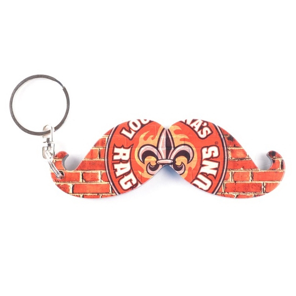 Full Color Mustache Key Chain / Bottle Opener