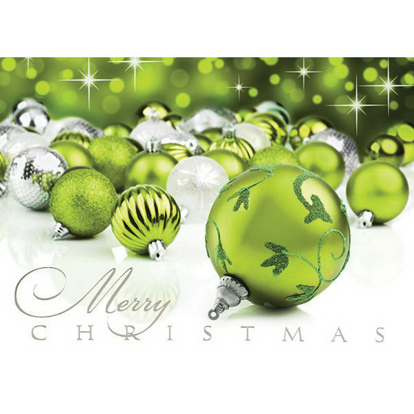Green Christmas Ornaments Card