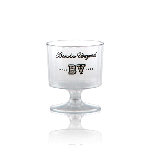 2 oz Clear Fluted Plastic, Footed Wine Glass