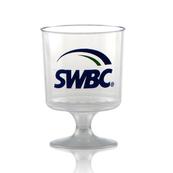 5 oz Clear Fluted Plastic, Footed Wine Glass