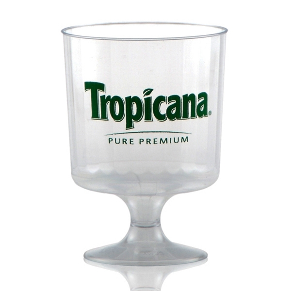 8 oz Clear Fluted Plastic, Footed Wine Glass