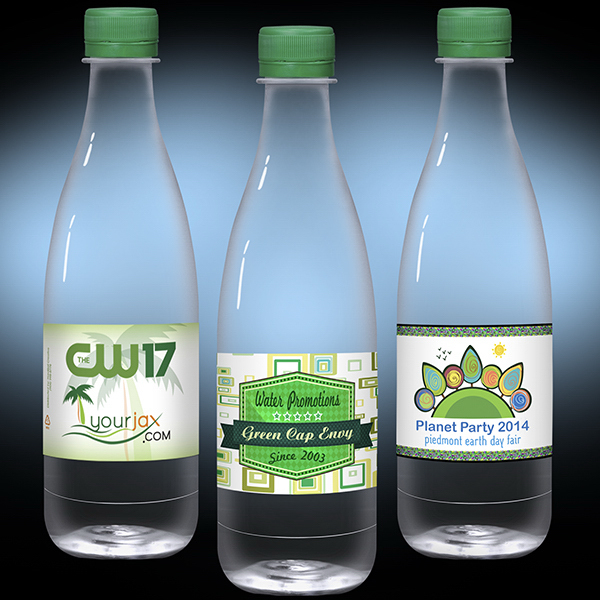16.9 oz Clear Glastic Bottle with Green Cap