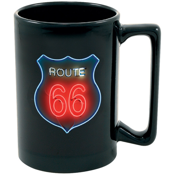 Full Color Black Stoneware Maui Mug - 15 oz