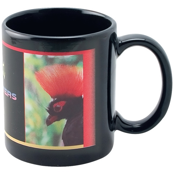 Full Color Black Stoneware Executive Mug - 11 oz