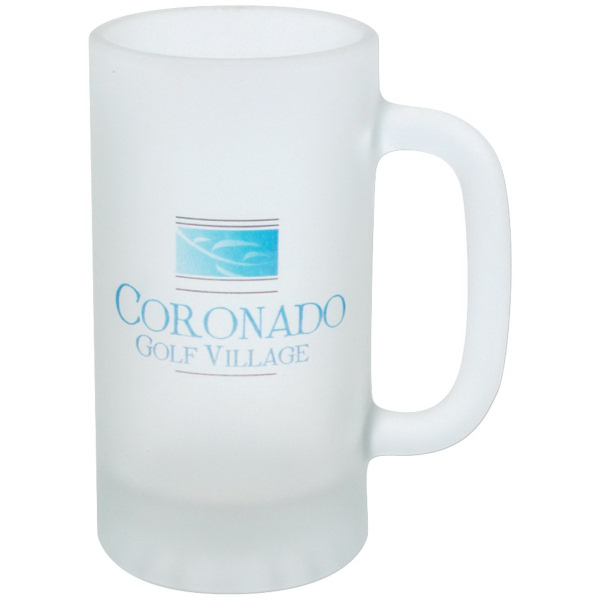 Full Color Frosted Glass Pub Stein - 16 oz