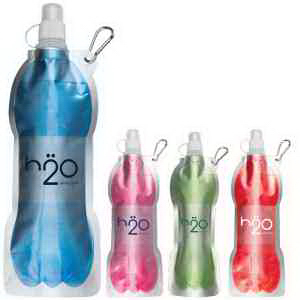 14 oz Fold Flat Water Bottle with Carabiner