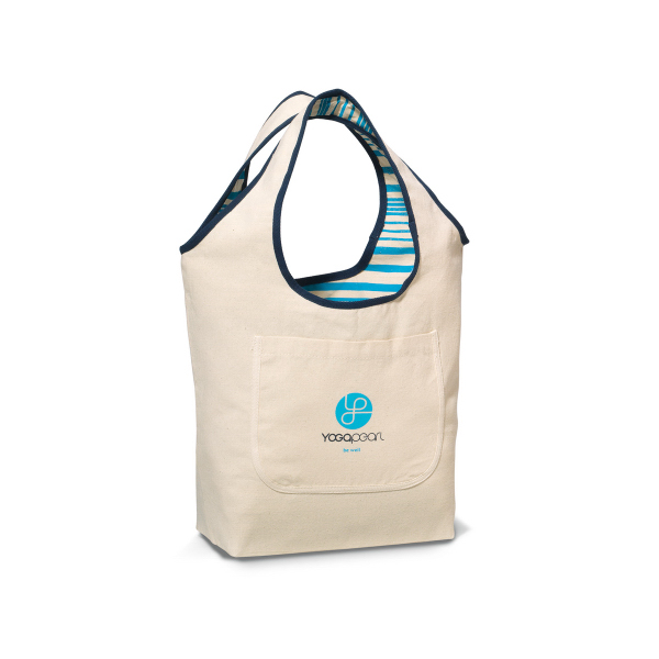 Natural/Navy & Blue Inspirations Reversible Cotton Tote