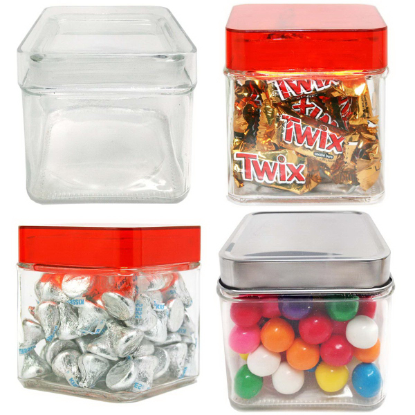 Sleek Square Glass Jar Small filled with Hard Candy