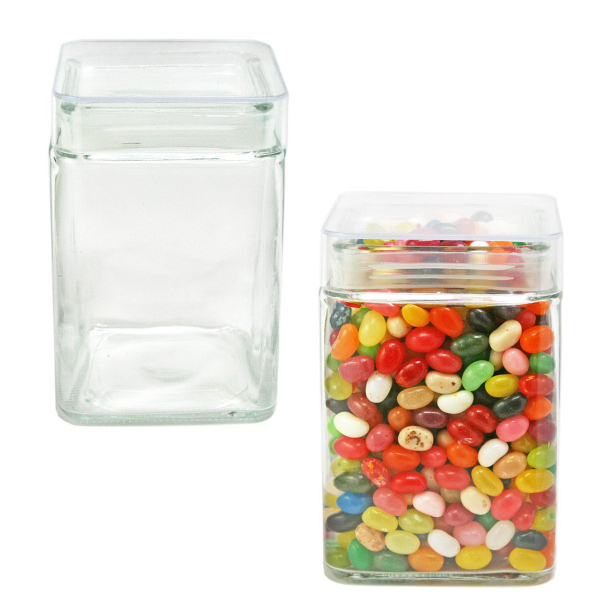 Sleek Square Glass Jar Large filled with Hard Candy