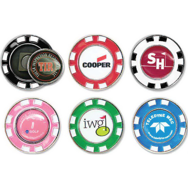 Metal Poker Chip with Removable Ball Marker