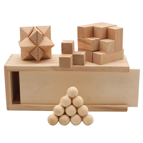 3-in1 Wooden Puzzle Box Set