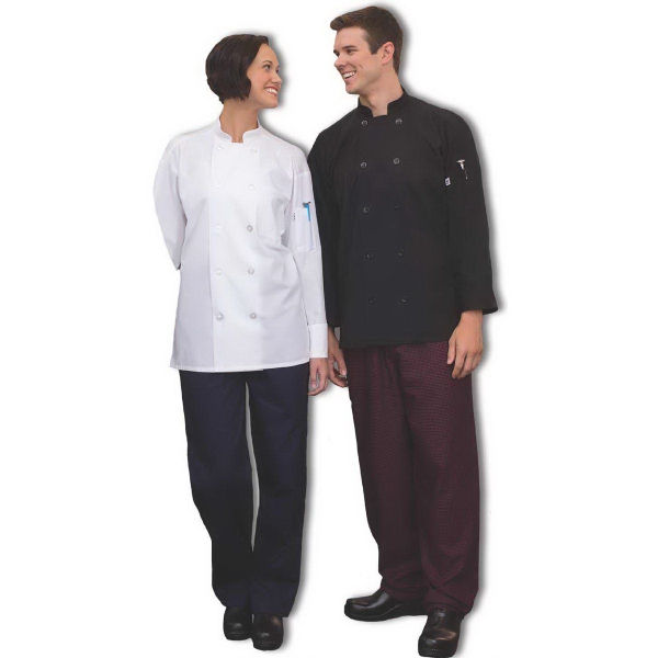 Poplin / Mesh Classic Long Sleeve Chef Coat - White
