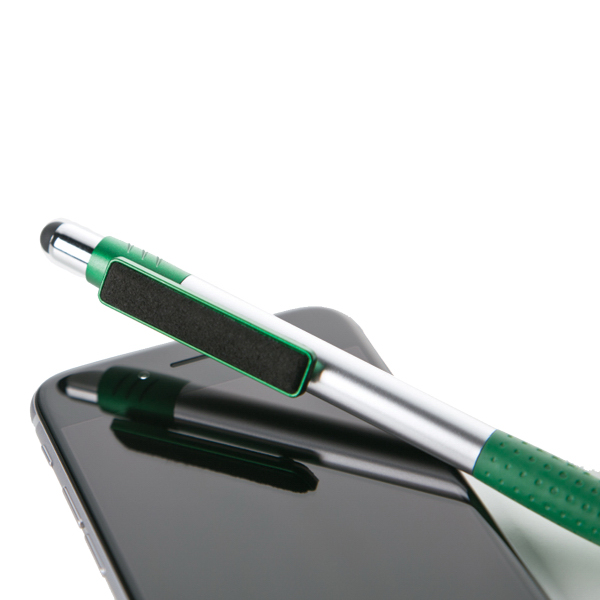 Plastic stylus pen with screen cleaner