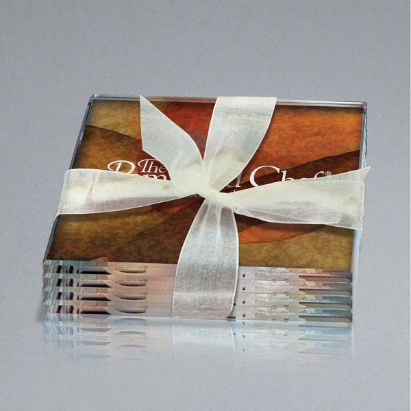 Set of 4 Art Glass Coasters