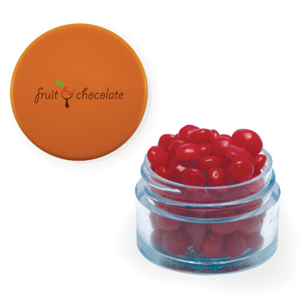 Twist Top Container Orange Cap filled with Cinnamon Red Hots