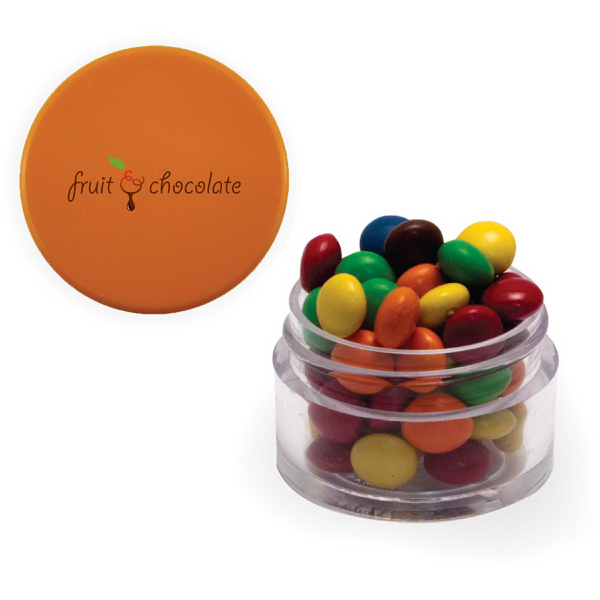 Twist Top Container Orange Cap filled with Chocolate Littles