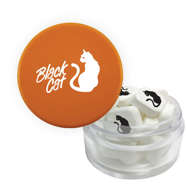 Twist Top Container Orange Cap filled with Printed Mints