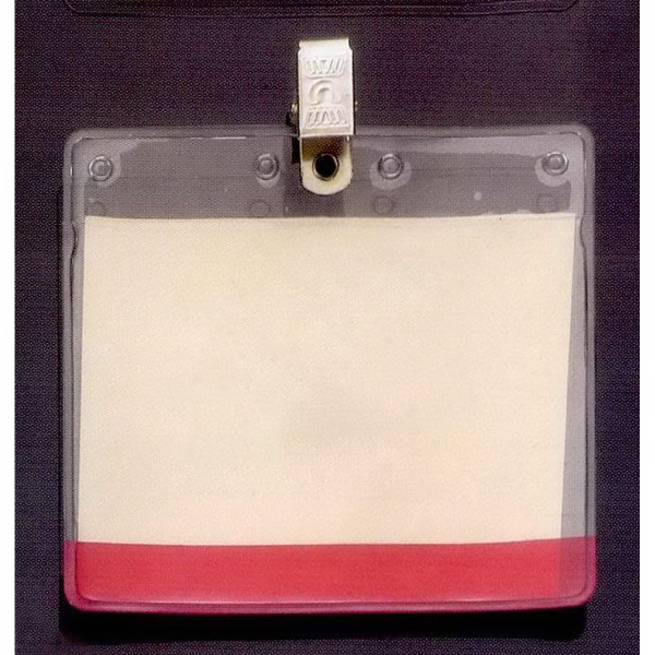 Horizontal Vinyl Pouch with Bulldog Clip and Colored Bar
