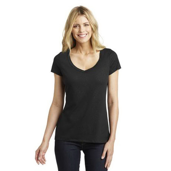 District Made (TM) Ladies Shimmer V-Neck Tee