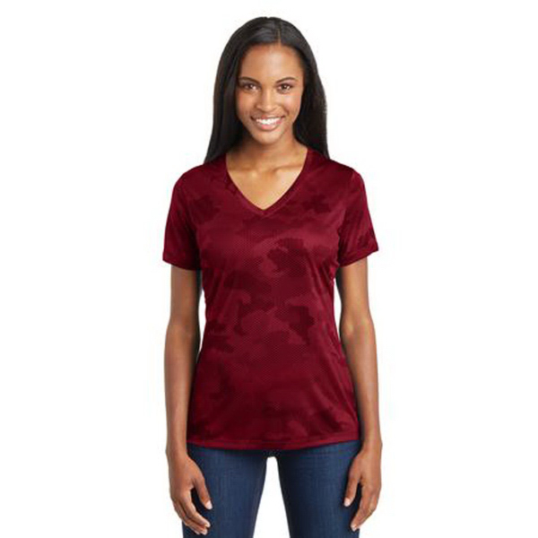 Sport-Tek (R) Ladies CamoHex V-Neck Tee