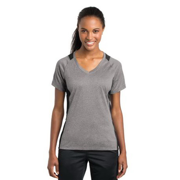 Sport-Tek (R) Ladies Heather Colorblock Contender V-Neck Tee