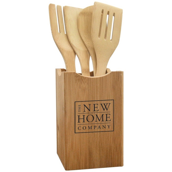 5 Piece Bamboo Utensil Set
