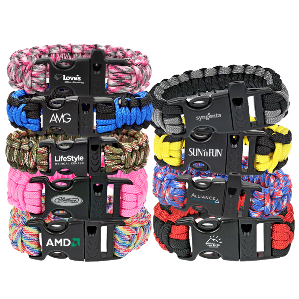Camouflage Paracord Bracelet with Whistle