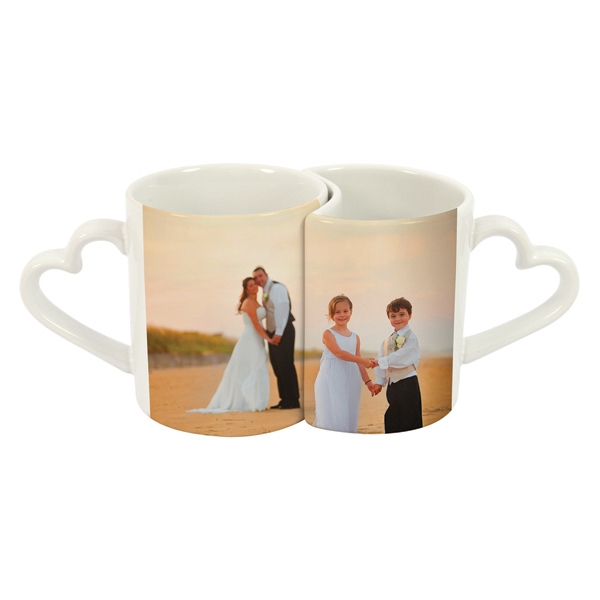11 oz. White Lover's Mug with Heart-shaped Handles