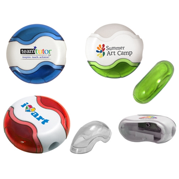 Round Pencil Sharpener Eraser Combo, Full Color Digital