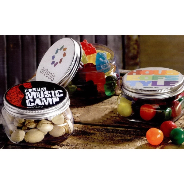 Square Plastic Jar with Candy Fill