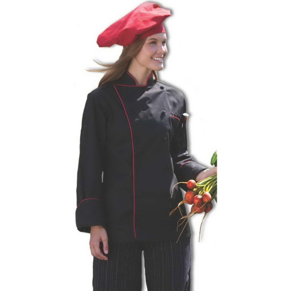 Piped Chef Coat - White w/Black, Red or Royal