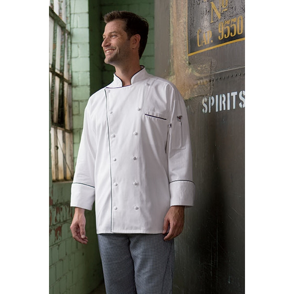 Executive Chef Coat with Full Black Piping - White