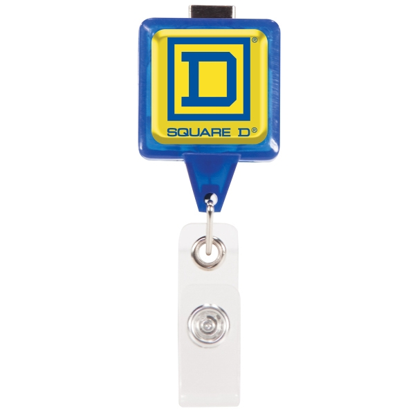Square Retractable Badge Holder w/Swivel Bulldog Clip