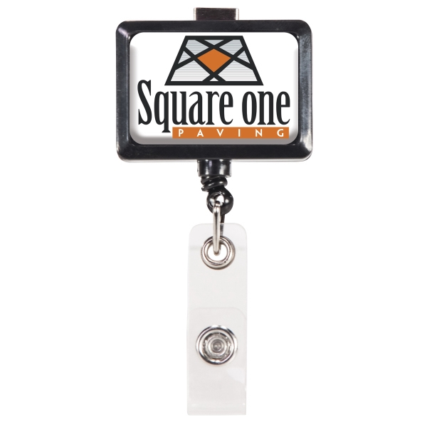 Rectangular Retractable Badge Holder w/Swivel Bulldog Clip