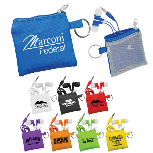 Ear Bud Pouch and Colorful Ear Buds
