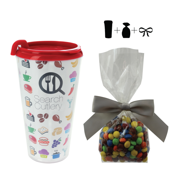 Plastic Travel Mug with Chocolate Littles - 16 oz.
