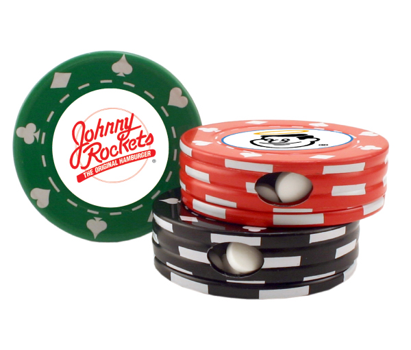 Poker Chip Shape Tin Box Mint Tin with Green Tea Mints