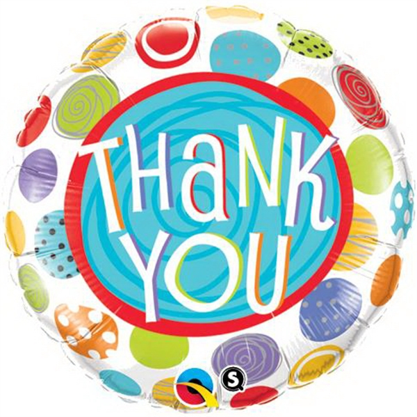 Thank You Patterned Dots Stock Microfoil Balloons