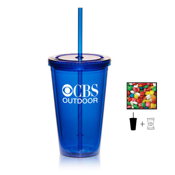 Plastic Tumbler Cup with Chewing Gum - 16 oz. - Drinkware