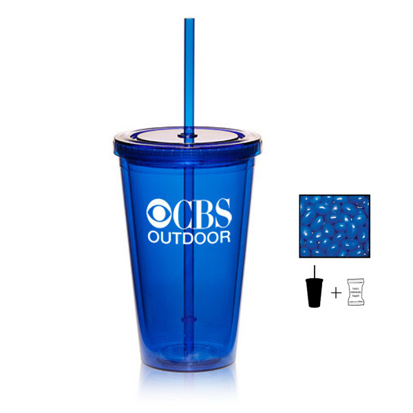 Tumbler Cup with Corporate Jelly Beans - 16 oz. - Drinkware