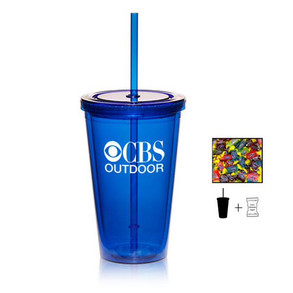 Plastic Tumbler Cup with Jolly Ranchers - 16 oz. - Drinkware