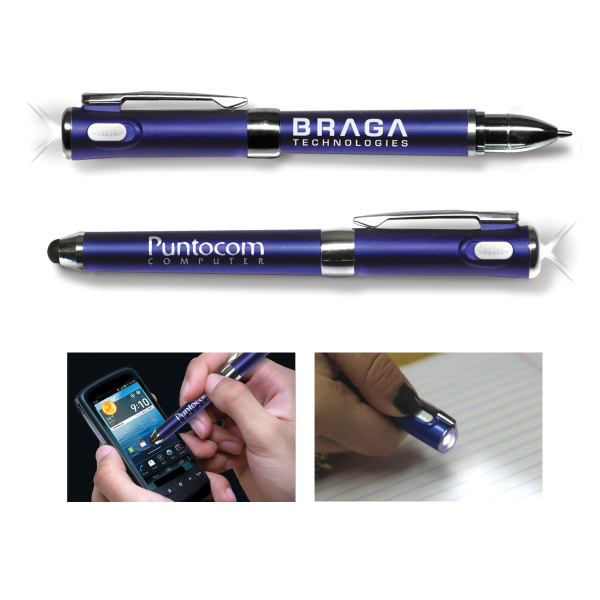 3-in-1 Smooth Stylus Flashlight Pen