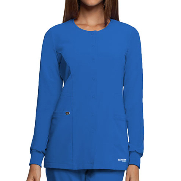 Barco Grey's Anatomy Signature Round Neck Snap Front Warmup