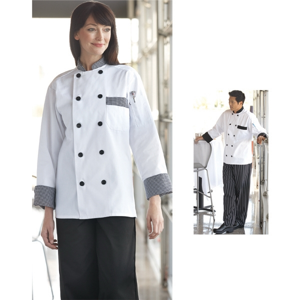 Custom Trim Chef Coat - White