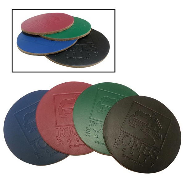 Color Tops Natural Leather Coaster